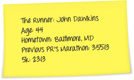 An image of a post-it note with John Dawkins details on it