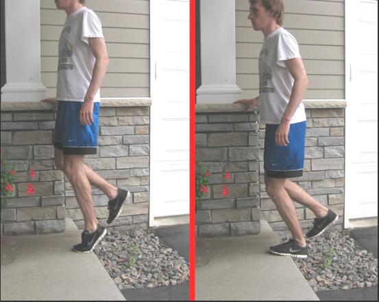 eccentric heel drops bent leg achilles tendonitis