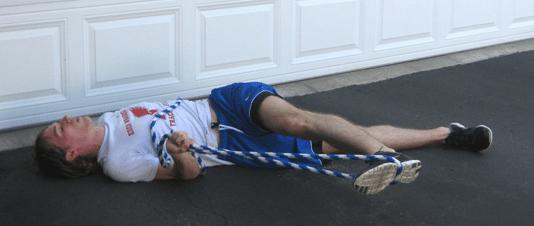 lying rope hip stretch