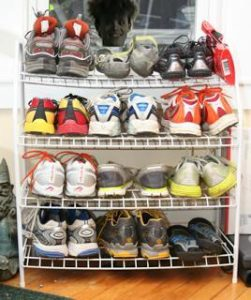 Part of Pete's Running Shoe Collection, 2010. (Photo Courtesy of P. Larson)
