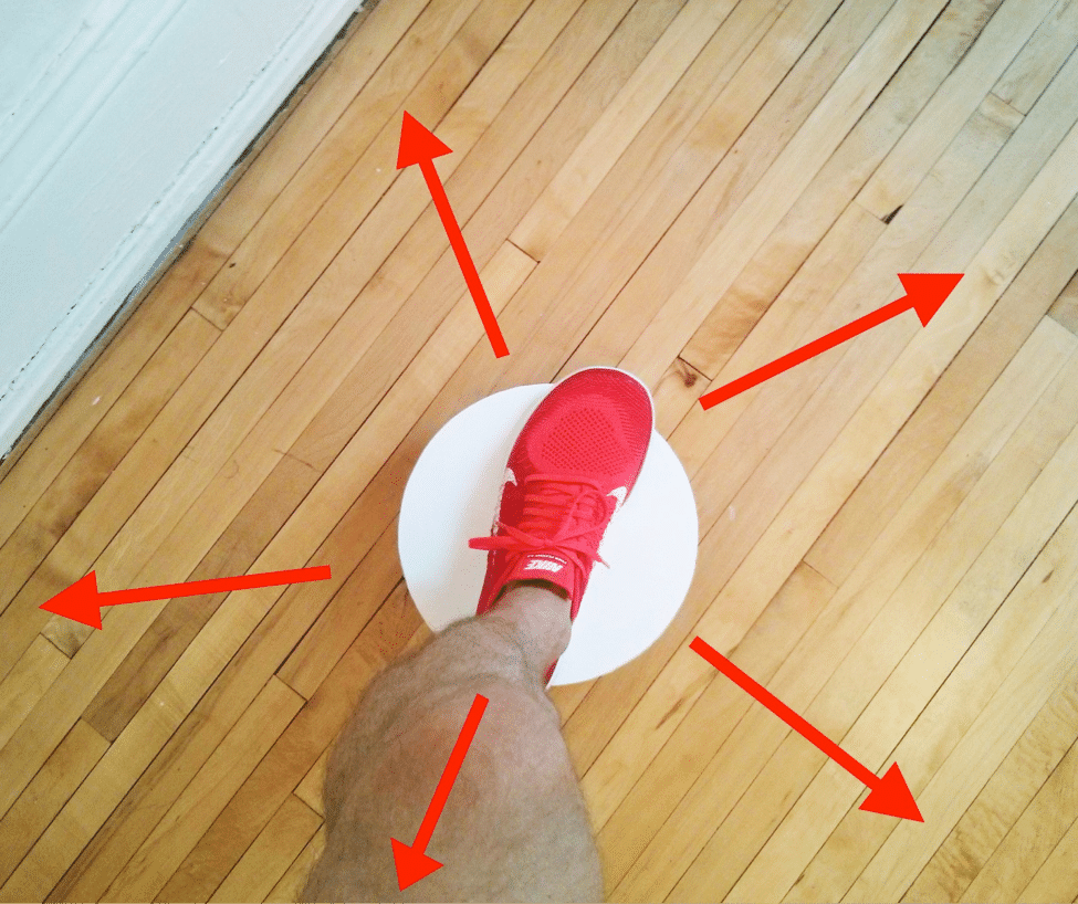 The five directions for balance board tapping.