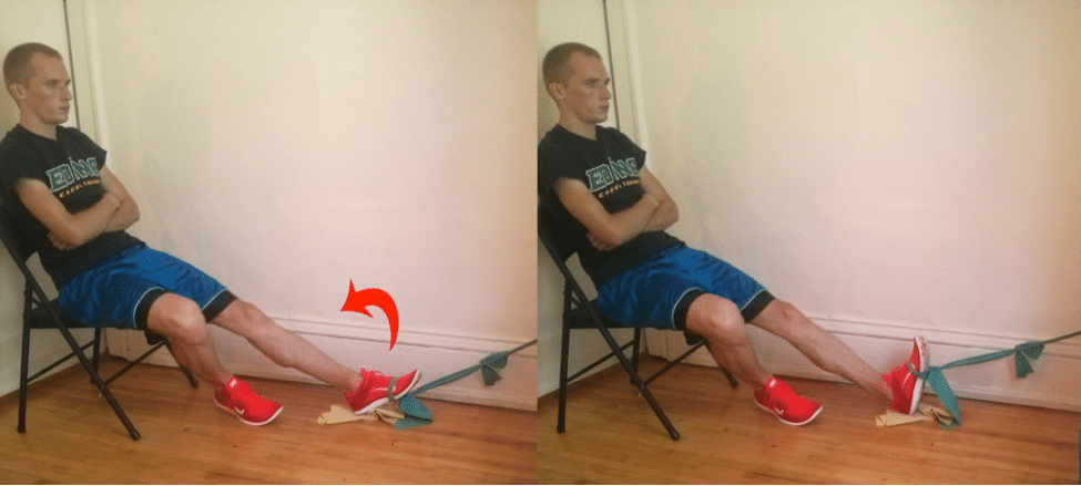 Theraband foot dorsiflexion exercise