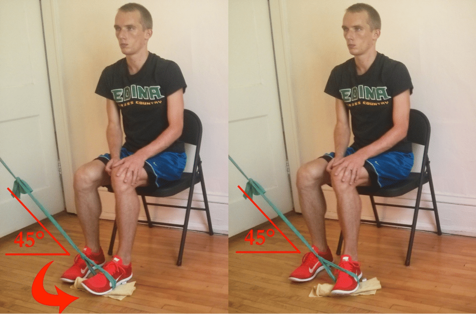Theraband foot eversion exercise